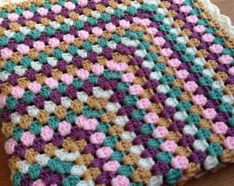 Handmade crochet granny square baby blanket, granny square, baby blanket, crochet blanket, crochet baby blanket