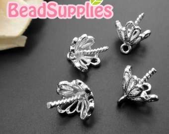 FN-FG-01046- Nickel Free, silver plated, Art nouveau filigree beadcaps, 6 pcs