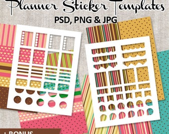 DIY Planner stickers / Erin Condren vertical layout stickers (photoshop, png, jpg) and Digital Papers blank templates / Commercial Use /