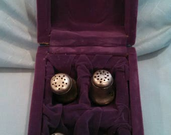 Antique Solid Silver Personal Salt Shakers : set of 4 in purple velveteen box