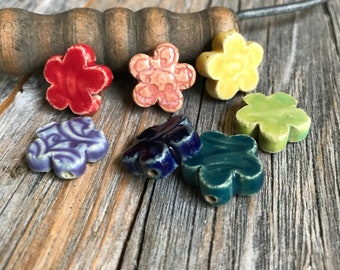7 Ceramic Flower Bead Set | Rainbow Colors Stoneware beads | Pottery Pressed Flower beads | Pottery Beads | Ceramic Jewelry Supply