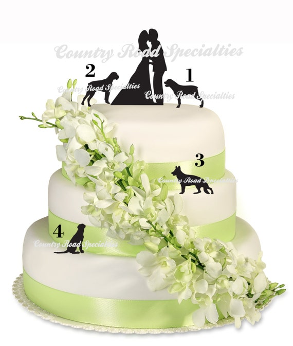Items similar to Silhouete Kissng Bride and Groom with Pets Wedding ...