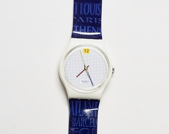 Swatch Dotted Swiss 100 vintage plastic swiss quartz watch with Olympic Games strap