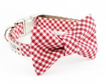 Red Gingham Bowtie Dog Collar