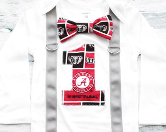 University of Alabama Theme bow tie Suspender set Bama baby Boy Cake Smash Outfit, Crimson Tide Boy first Birthday, Boy 1st birthday