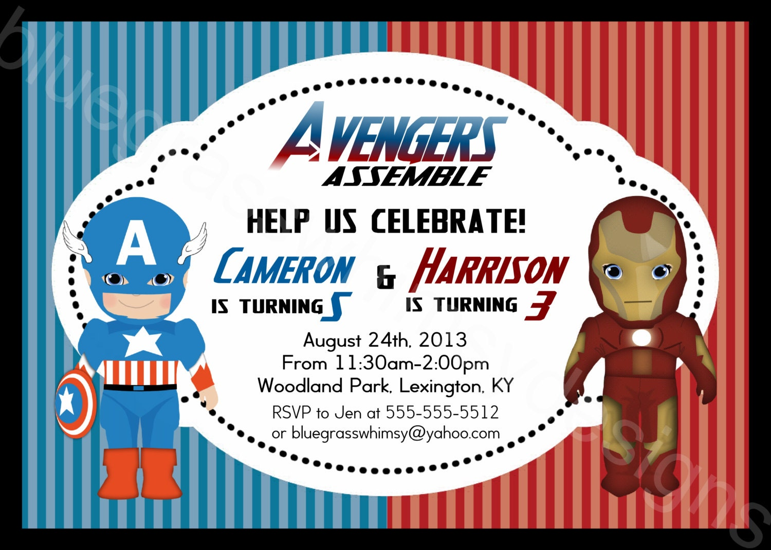 Iron Man Captain America Avengers Printable Birthday Party