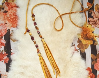 Mookaite Jasper Beaded Wrap Necklace - Long Leather Lariat - Boho Bolo Necklace - Choker - Tassel Necklace - Handmade Bohemian Jewelry