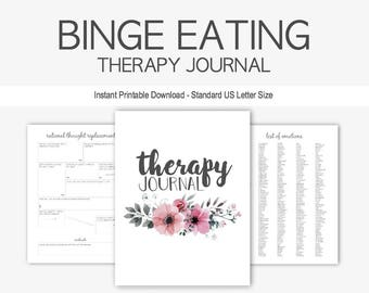 Binge Eating Disorder Therapy Journal: Mental Health, Eating Disorder, Anorexia, Bulimia, Weight Gain, Obesity, Instant Printable Download