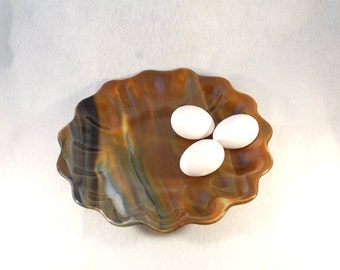 Fused glass art plate, brown swirly