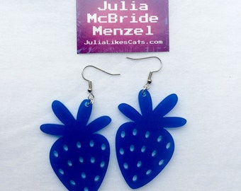 Blue Strawberry Earrings