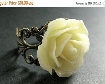 MOTHERS DAY SALE Ivory Rose Ring. Ivory Flower Ring. Adjustable Ring. Filigree Ring. Flower Jewelry. Handmade Jewelry.