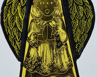 Small angel, stained glass, copper foiled glass, sun-catcher, window decoration, art glass, coloured glass, angel feathers, hanging ornament