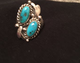 Stirling and turquoise fan ring