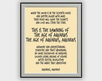 """Hair Musical """"Aquarius """"  Song Lyric  Typography Quote Home and Office Decoration Poster Design Wall Art Music Poster"""