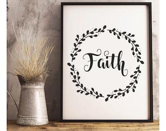 SALE-Faith Twig Wreath- Digital Print- Wall Art-Farmhouse Style- Digital Designs- Home Decor- Gallery Wall- Quote Prints- Inspirational Art