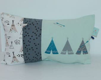 Cushion 30 x 50 trio of Teepees in green water and gray
