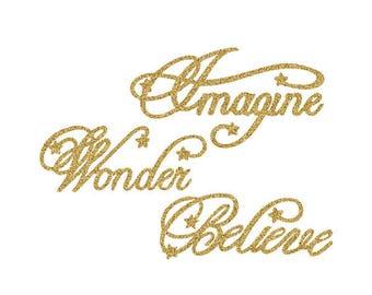 Imagine, Wonder, Believe Christmas SVG Digital Download, Merry Christmas Word Art Vinyl Cut File, Scrapbook Embellishment, Holiday DIY Gift