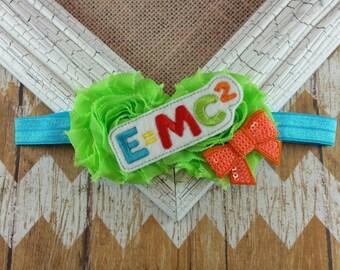 Nerd headband,E=MC2 headband, math headband, smarty pants headband, girls headband, children's headband, school headband