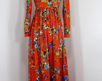 1970's Polyester Maxi Dress size Small Long Sleeve Boho Beauty