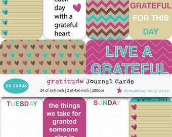 SALE Project Life, Journal Cards, 26 Cards, Gratitude Project Life, Gratitude Journal Cards, Happy Project Life, 3x4, 4x6, INSTANT DOWNLOAD