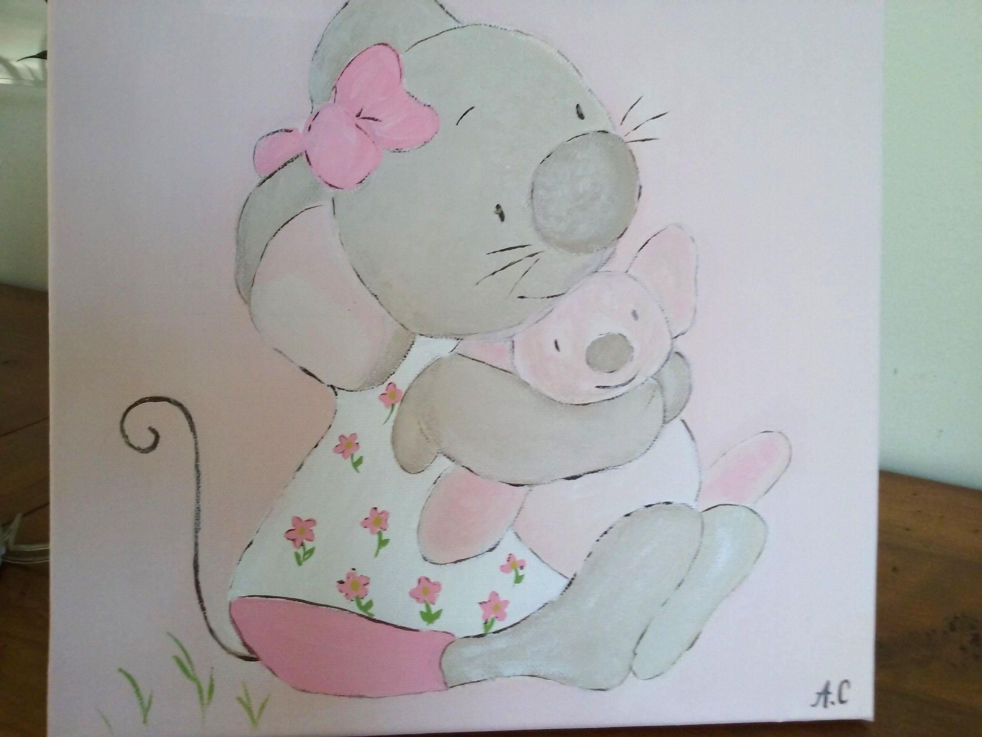 Tableau peinture pour chambre petite fille mimie petite for Toile pour chambre bebe