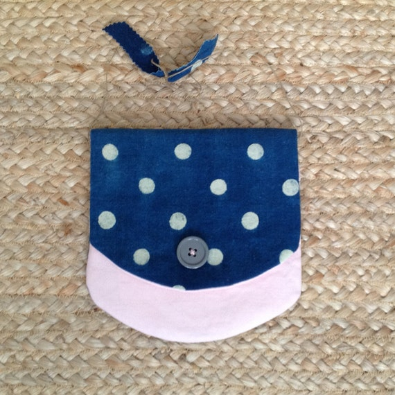 Vintage indigo blue polka dot linen pouch or house bag, lined, contrasting linens.