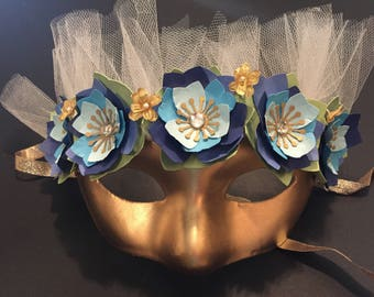Gold Fairy Mask with Shade of Blue Flowers