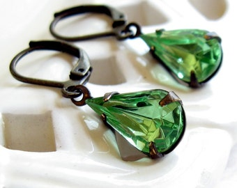 Green Teardrop Rhinestone Glass Jeweled Earrings Shabby Chic Cottage Style Mothers Day Outdoor Wedding Garden