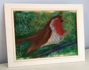 Red Robin Felted Artwork