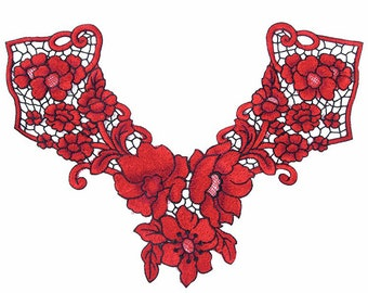 Red Flowers and Black Lattice Collar Fabric Patch - Patches - Applique - Sew On - Jackets - Jeans - Backpacks - Soft - Floral - Craft