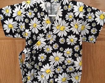 Daisy Baby Kimono, Flower Baby Kimono, Baby Kimono, Kimono Bodysuit, Baby Jinbei, 0-3M