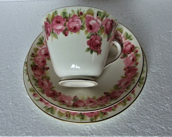 Beautiful Vintage  Royal Doulton  Rose Pattern Tea Trio Cup Saucer Side Plate WORLD WIDE SHIPPING