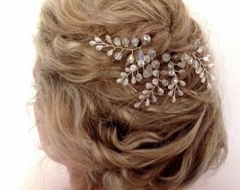 Crystal Fern Leaf Hair Pins, Tear Drop Crystal Bridal Hair Pins, Wedding Hair Accessories, Crystal Vine Hair Pins,