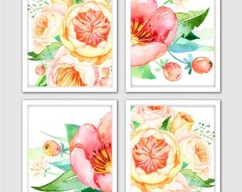 Yellow Peony Art 4 Set Wall Art Prints for Your Sunroom Wall Decor