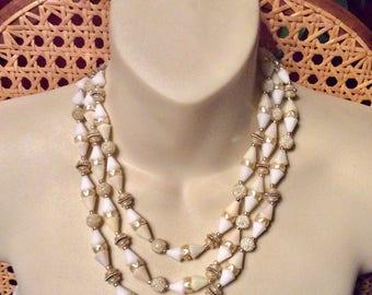 Vintage Hong Kong triple strand sugar crumb beads white wedding necklace.