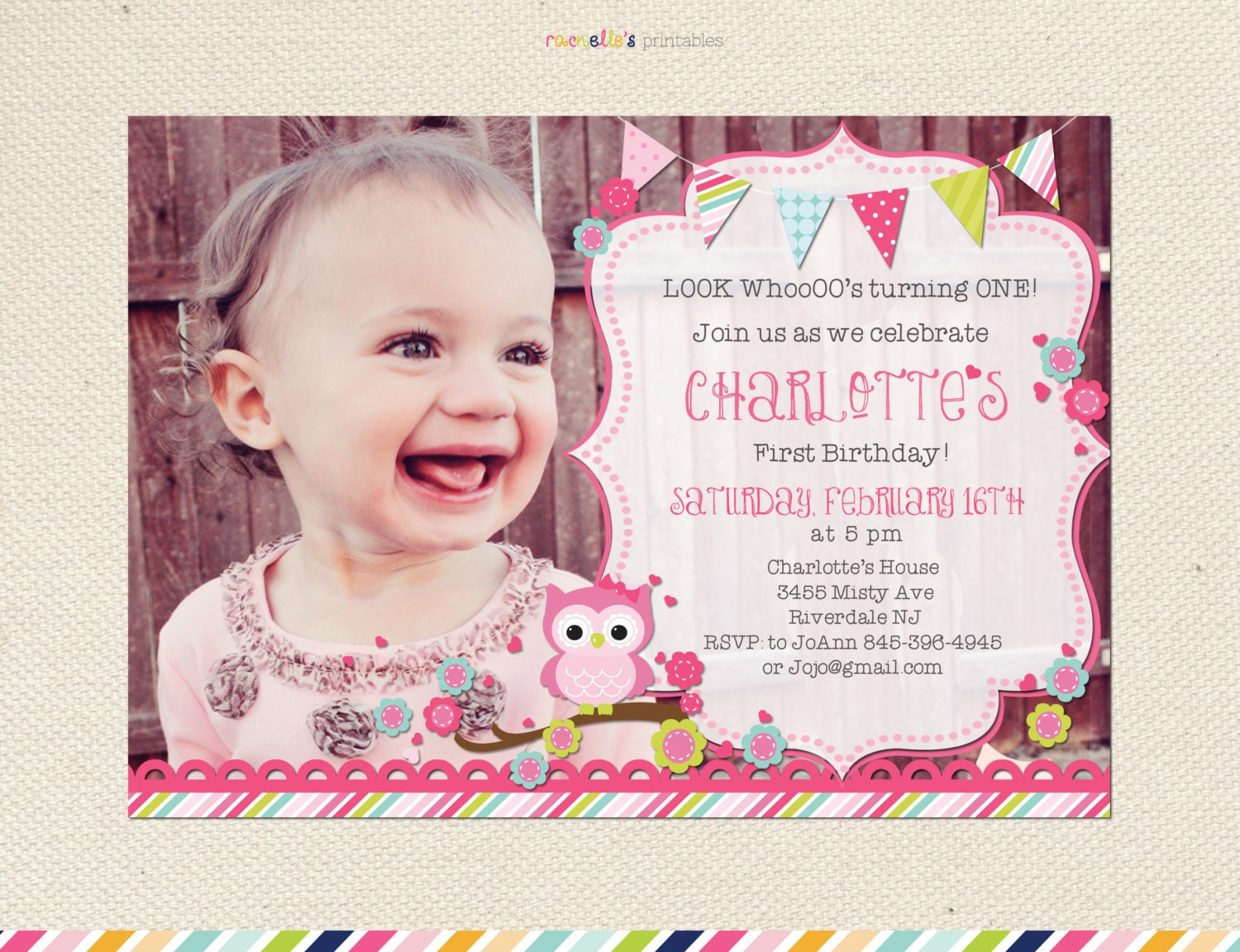 Look Who\'s turning One Owl birthday invitation First