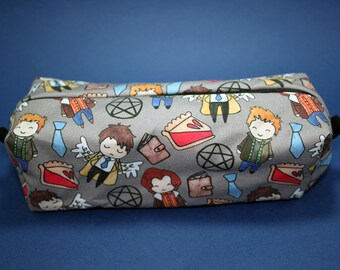 Boxy Makeup Bag- Supernatural Cast Doodle- Pencil Pouch - Dean Winchester, Sam Winchester,  and Castiel