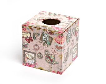 Vintage Pink Tissue Box Cover  wooden decoupaged made by hand