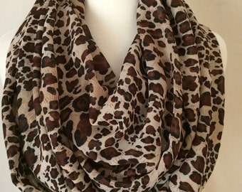 Cheetah Print Lightweight Infinity Scarf Gift for Her Animal Scarfs Scarves Fall Christmas Winter