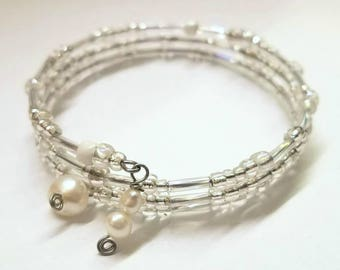 Snow Bangle - Boho Silver & White Tones Memory Wire Seed Bead Bracelet with Freshwater Pearls - Elegant Winter Accessory