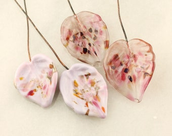 Lampwork Headpins, Glass Leaf Head Pins,  Headpin on 20Ga Antique Copper Wire, Pink, Lavender