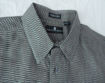 Gray Geometric Long Sleeve Button Down Shirt - Large Mens Made in USA Vtg Saks Fifth Ave