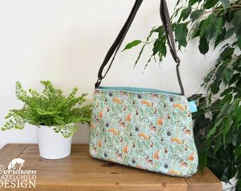 Woodland Animal Handbag, Cross Body Bag, Shoulder Bag, Floral Bag, Woodland Animal Print, Flox Gift