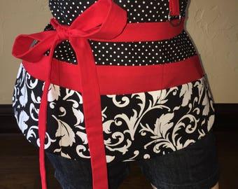 Black, White, and Red Half Waist Pocket Apron