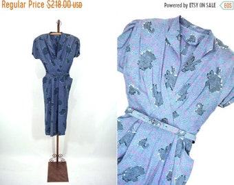 "1940s novelty dress   blue pink novelty print silk fitted dress   vintage 40s dress   W 22"""