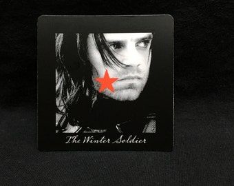 "Bucky Barnes - Winter Soldier - Red Star 3""x3"" Magnet (Black BG)"
