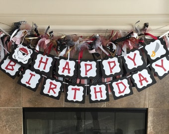 Pirate Party Decorations - Pirate Birthday Garland - Ribbon Garland - Pirate Theme Ahoy Matey