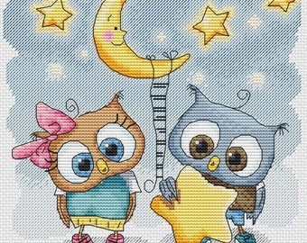 "Cross Stitch Pattern ""Star Owls"". PDF instand download."