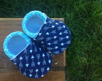 Baby Shoes for Boys - Navy Blue Arrow Fabric with Sky Blue Herringbone Pattern - Custom Sizes 0-3 3-6 6-12 12-18 18-24 months 2T-4T