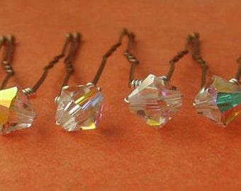 Crystal AB Bridal Hair Pins, Wedding Hair Pins, Crystal Hair Pins, Crystal Bobby Pins, Swarovski Hair Pins, Veil Hair Pins - Set of 6 6mm